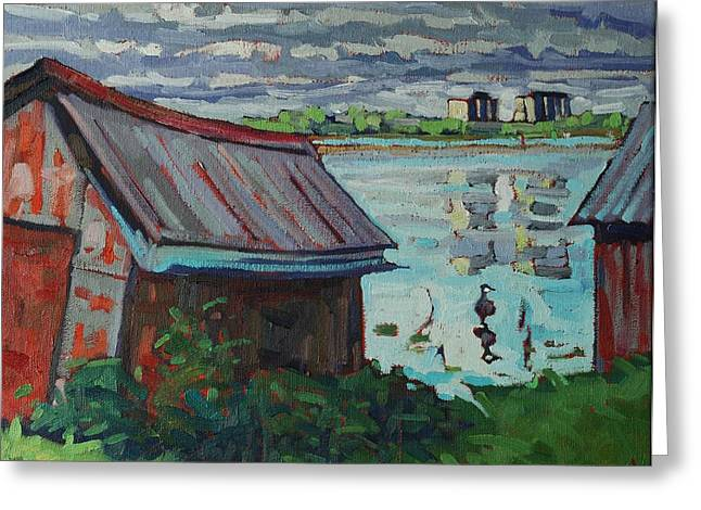 Kingston Paintings Greeting Cards - B and B - Barriefield Boathouse Greeting Card by Phil Chadwick