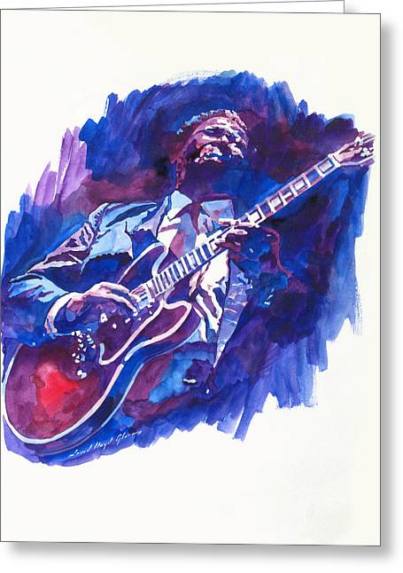 Singer Paintings Greeting Cards - B. B. King Blue Greeting Card by David Lloyd Glover