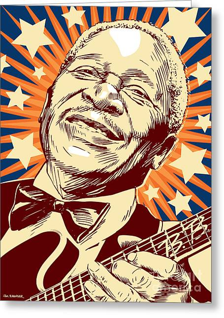 The King Of Pop Greeting Cards - B. B. King Greeting Card by Jim Zahniser