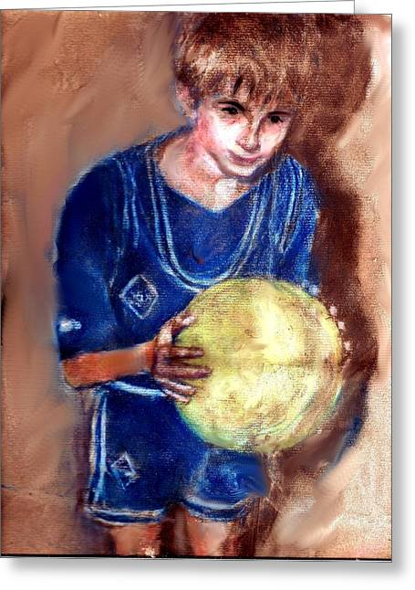 Athlete Pastels Greeting Cards - B-Ball Greeting Card by Charles McChesney