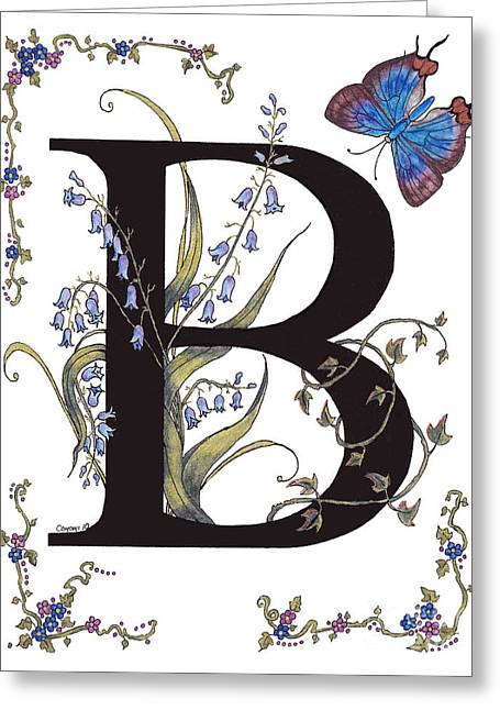 Personal Mixed Media Greeting Cards - B for Bluebells and a Blue Hairstreak Butterfly Greeting Card by Stanza Widen