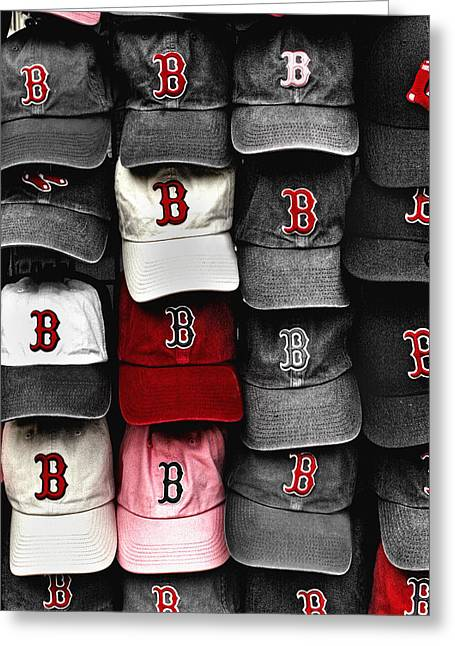 Baseball Cap Greeting Cards - B for BoSox Greeting Card by Joann Vitali