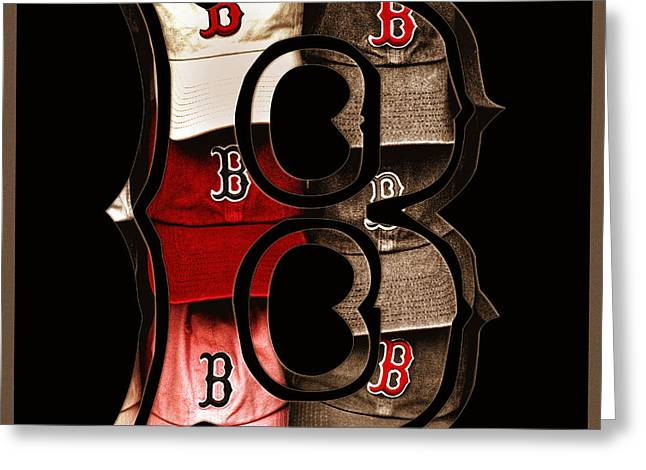 B for BoSox - Vintage Boston Poster Greeting Card by Joann Vitali
