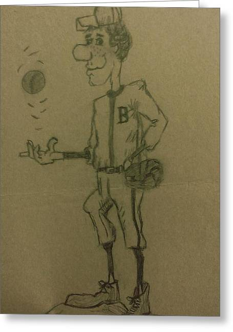Sports Glove Drawings Greeting Cards - B is for Baseball Greeting Card by Christy Saunders Church