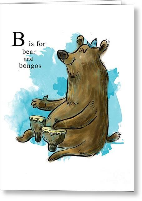 Sean Hagan Greeting Cards - B is for Bear Greeting Card by Sean Hagan