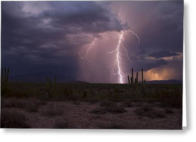 Arizona Lightning Greeting Cards - B-Line Hwy Dancer Greeting Card by Cathy Franklin