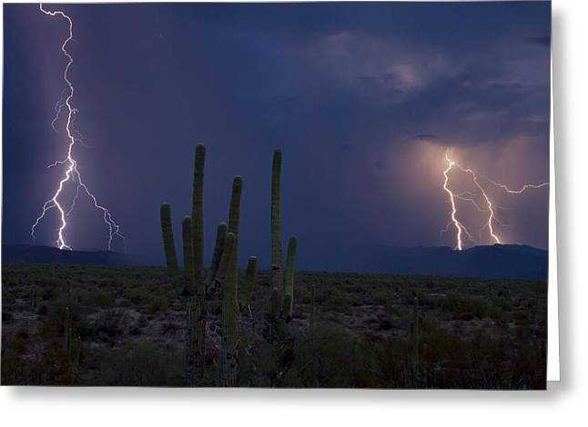 Arizona Lightning Greeting Cards - B-Line Magic Greeting Card by Cathy Franklin