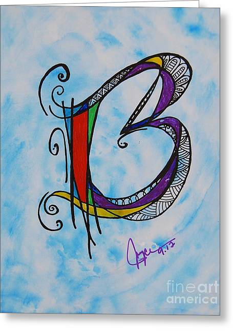 'b' Monogram Greeting Card by Joyce Auteri