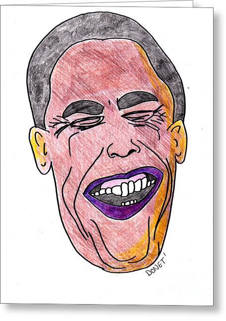 Barack Obama Drawings Greeting Cards - B Obama Greeting Card by James and Donna Daugherty