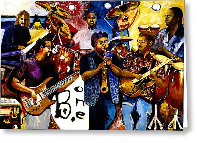 Everett Spruill Mixed Media Greeting Cards - B. One Jazz Band featuring Erly Thornton Greeting Card by Everett Spruill