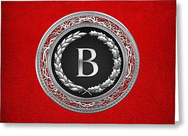 Cadeau Greeting Cards - B - Silver Vintage Monogram on Red Leather Greeting Card by Serge Averbukh