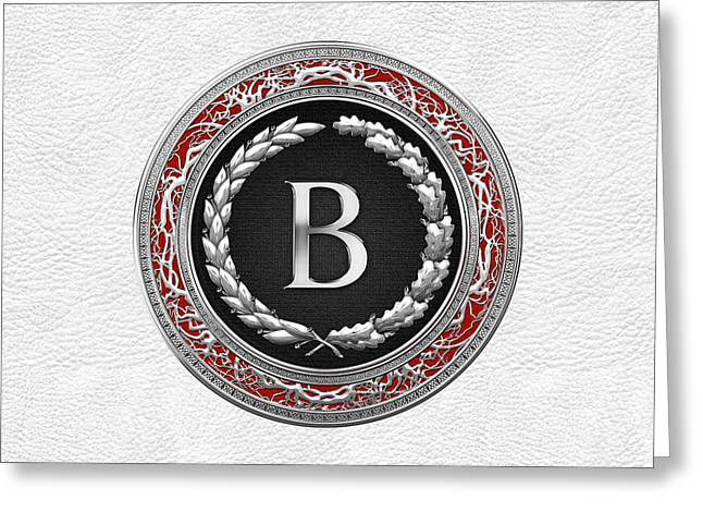 Cadeau Greeting Cards - B - Silver Vintage Monogram on White Leather Greeting Card by Serge Averbukh