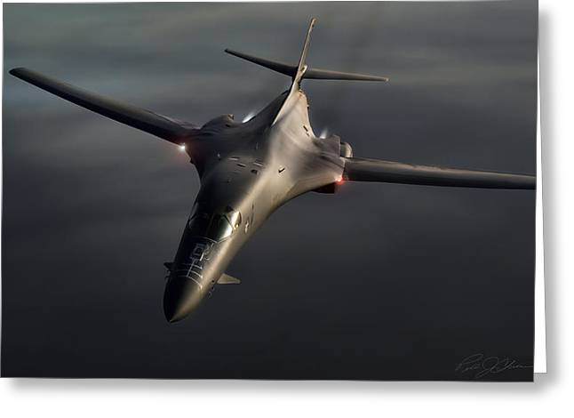 Jet Airplane Greeting Cards - B1-B Lancer Greeting Card by Peter Chilelli