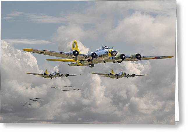 Aircraft Greeting Cards - B17 486th Bomb Group Greeting Card by Pat Speirs