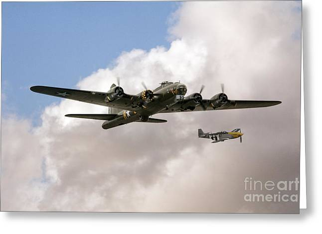 Ferocious Frankie Greeting Cards - B17 and P51 Greeting Card by J Biggadike