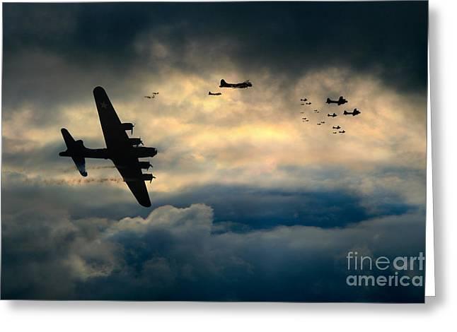 Bomber Escort Greeting Cards - B17 Battle Damage Greeting Card by J Biggadike