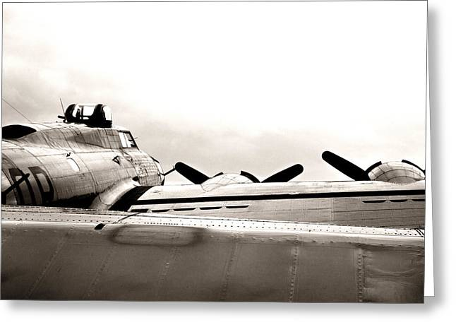 Ww Ii Greeting Cards - B17 Bomber Wing from ww II Greeting Card by M K  Miller