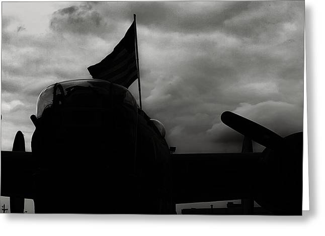 Ww Ii Greeting Cards - B17 Flying Fortress In Black and White Greeting Card by M K  Miller