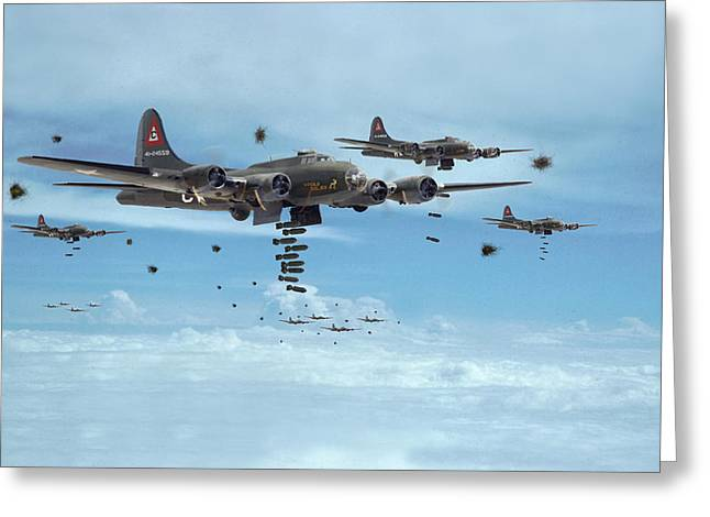 Military Airplanes Greeting Cards - B17 - Mighty 8th Arrives Greeting Card by Pat Speirs