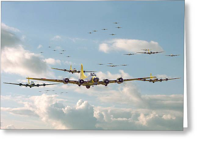 Military Airplanes Greeting Cards - B17 - Mighty 8th En-route Greeting Card by Pat Speirs