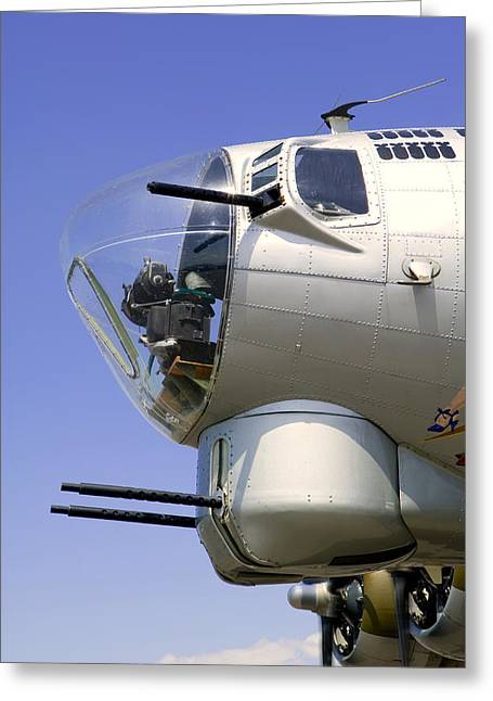 Plexiglas Greeting Cards - B17 Nose Armament Greeting Card by Russell Shively