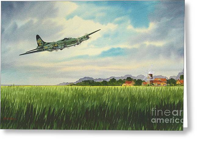 Aircraft Artist Greeting Cards - B17 over Norfolk England Greeting Card by Bill Holkham