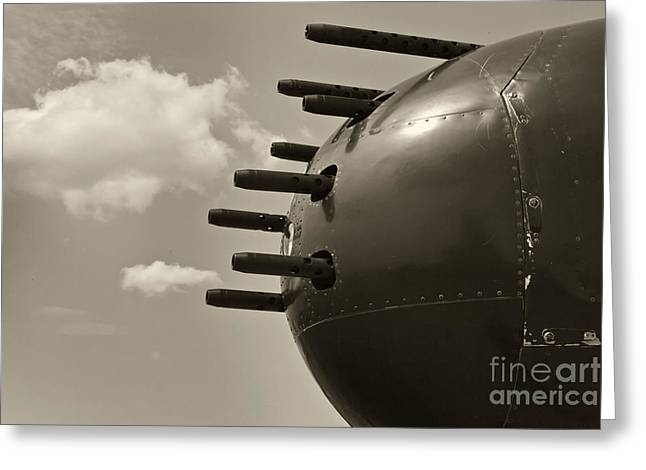 Usaac Greeting Cards - B25 Mitchell Bomber Airplane Nose Guns Greeting Card by M K  Miller