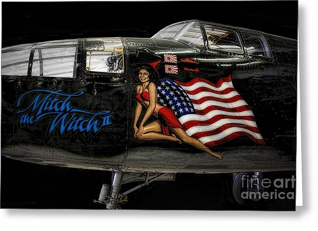 B25 Photographs Greeting Cards - B25 Nose Art  ... Greeting Card by Chuck Caramella