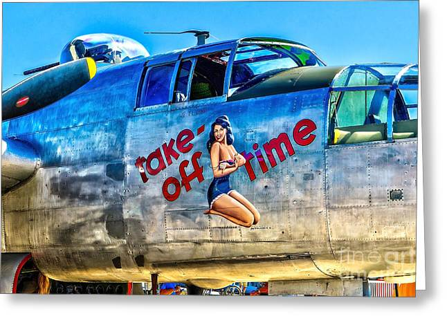 B25 Take Off Time Greeting Card by Nick Zelinsky
