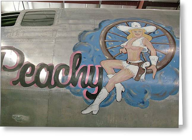 Military Airplanes Greeting Cards - B29 Superfortress Nose Art Peachy Greeting Card by Ken Smith