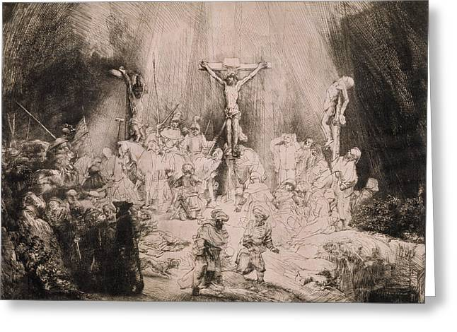Thief Paintings Greeting Cards - B.78.iii The Three Crosses, C.1660 Greeting Card by Rembrandt Harmensz. van Rijn