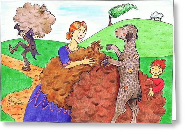 Nursery Rhyme Drawings Greeting Cards - Baa Baa Black Sheep Greeting Card by Kerina Strevens