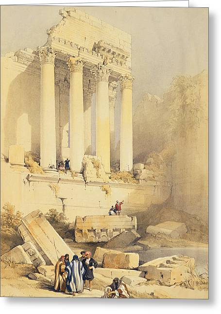 Architectural Elements Greeting Cards - Baalbec Greeting Card by David Roberts