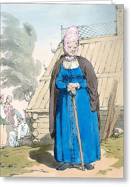 Women Dressed Drawings Greeting Cards - Baba Or Old Woman Greeting Card by John Augustus Atkinson