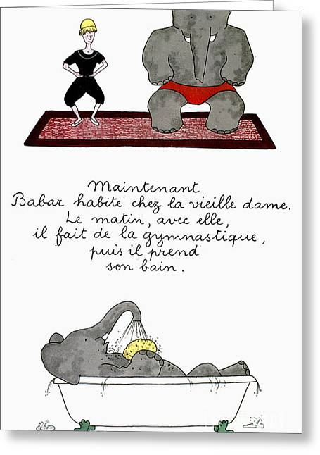 Children Literature Greeting Cards - Babar Greeting Card by Granger