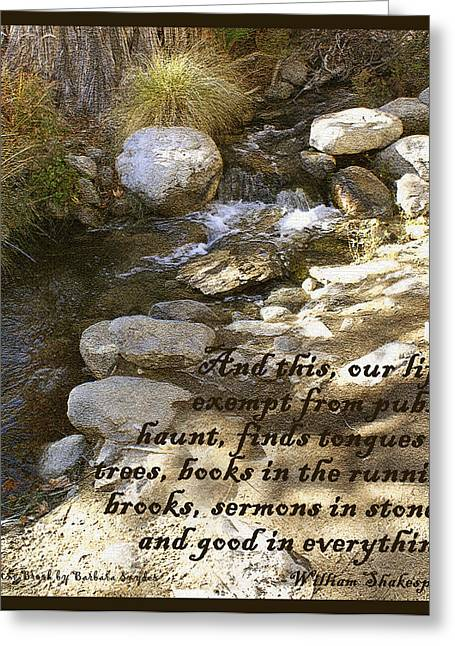 Babbling Brook William Shakespeare Quote Greeting Card by Barbara Snyder