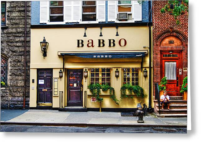 Italian Restaurant Greeting Cards - Babbo by Mario Batali Greeting Card by Randy Aveille