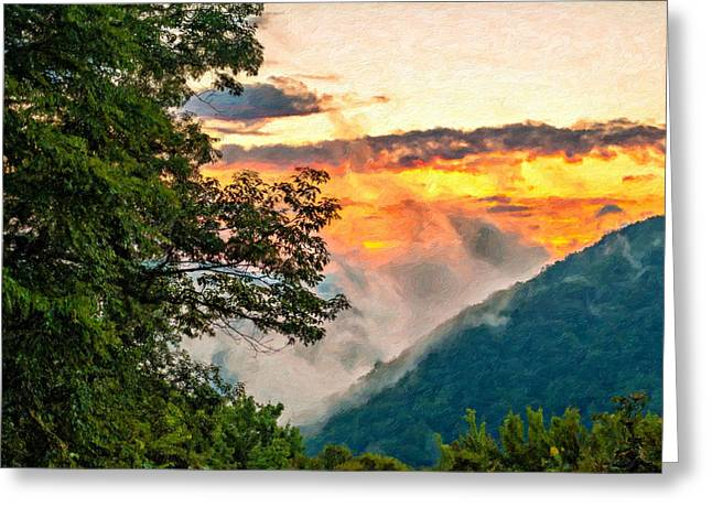 Babcock Greeting Cards - Babcock State Park WV impasto Greeting Card by Steve Harrington