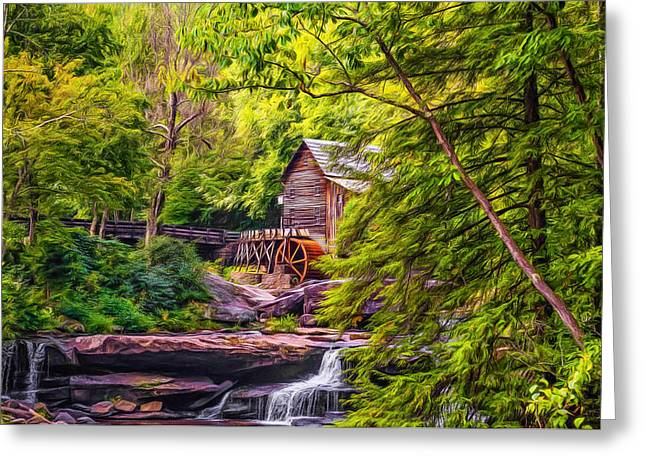 Grist Mill Greeting Cards - Babcock State Park WV - Paint Greeting Card by Steve Harrington