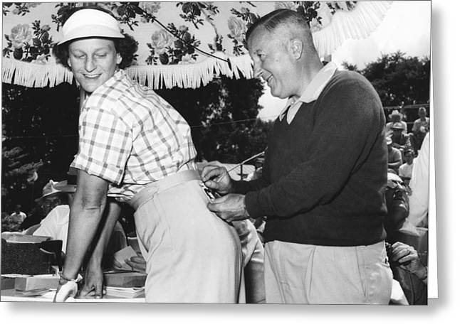 Professional Golf Greeting Cards - Babe Didrikson Gets Pinned Greeting Card by Underwood Archives