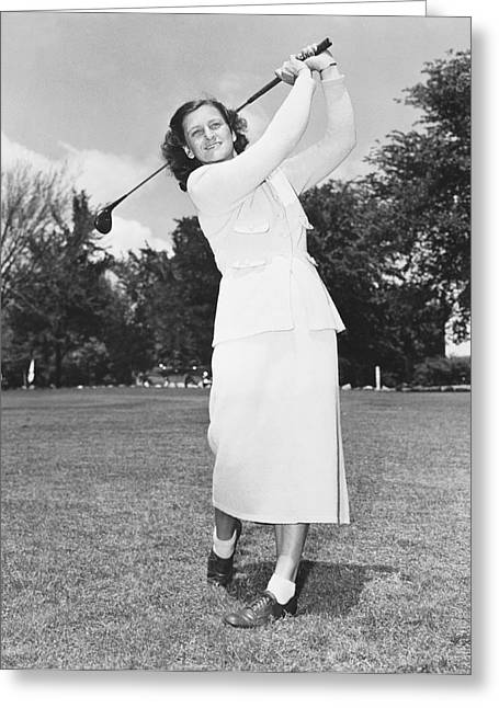 Babe Didrikson Golfing Greeting Card by Underwood Archives
