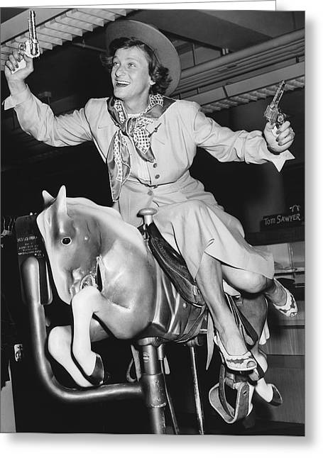 Famous Person Greeting Cards - Babe Didrikson On Sidesaddle Greeting Card by Underwood Archives