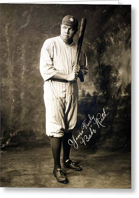 Babe Ruth Vintage Photo Greeting Cards - Babe Ruth 1920 Greeting Card by Mountain Dreams