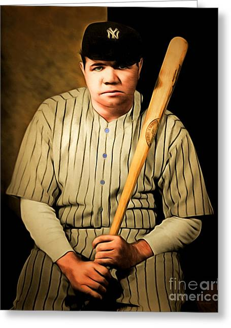 Minor League Greeting Cards - Babe Ruth 20141220 brunaille Greeting Card by Wingsdomain Art and Photography