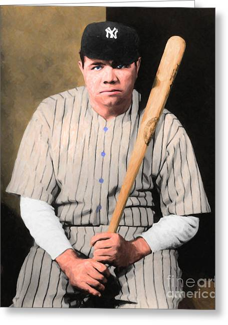 Minor League Greeting Cards - Babe Ruth 20141220 v1 Greeting Card by Wingsdomain Art and Photography