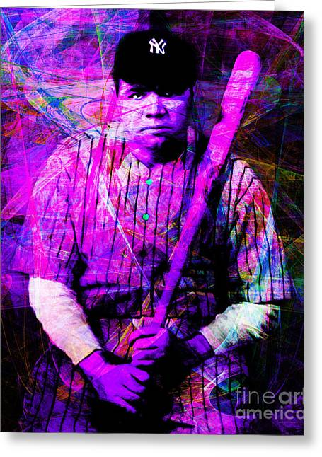 Minor League Greeting Cards - Babe Ruth 20141220 v2 m93 Greeting Card by Wingsdomain Art and Photography