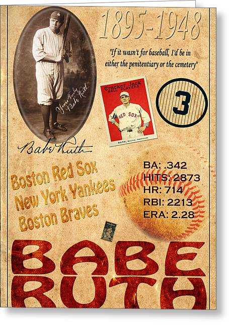 Sultan Of Swat Greeting Cards - Babe Ruth Greeting Card by Andrew Fare