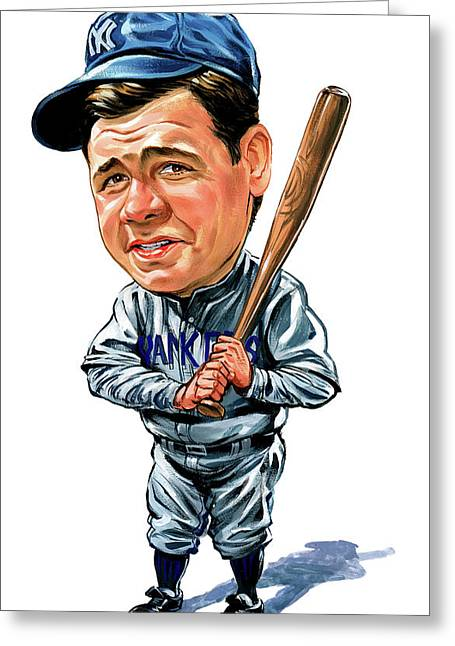 Baseball Paintings Greeting Cards - Babe Ruth Greeting Card by Art