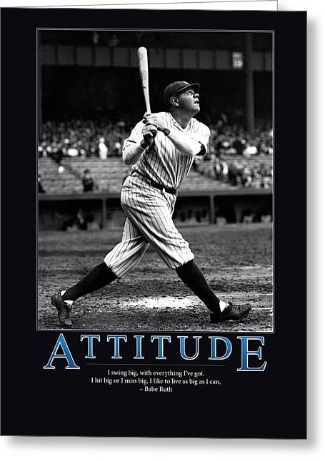 Team Greeting Cards - Babe Ruth Attitude  Greeting Card by Retro Images Archive