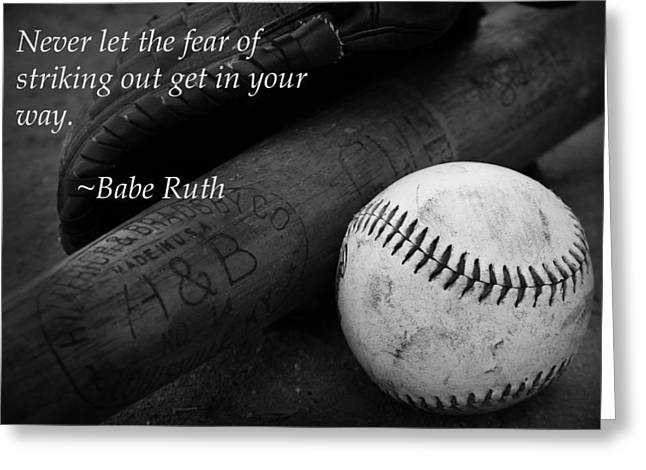 Red Sox Art Greeting Cards - Babe Ruth Baseball Quote Greeting Card by Kelly Hazel